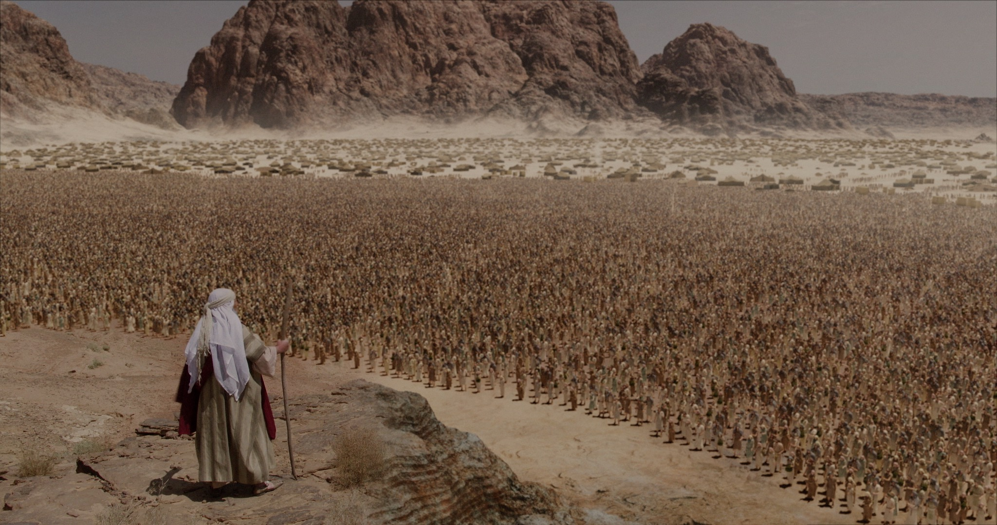 "Striking animation shows Moses addressing the Hebrew people at Mt. Sinai, in ""Patterns of Evidence: The Moses Controversy."""