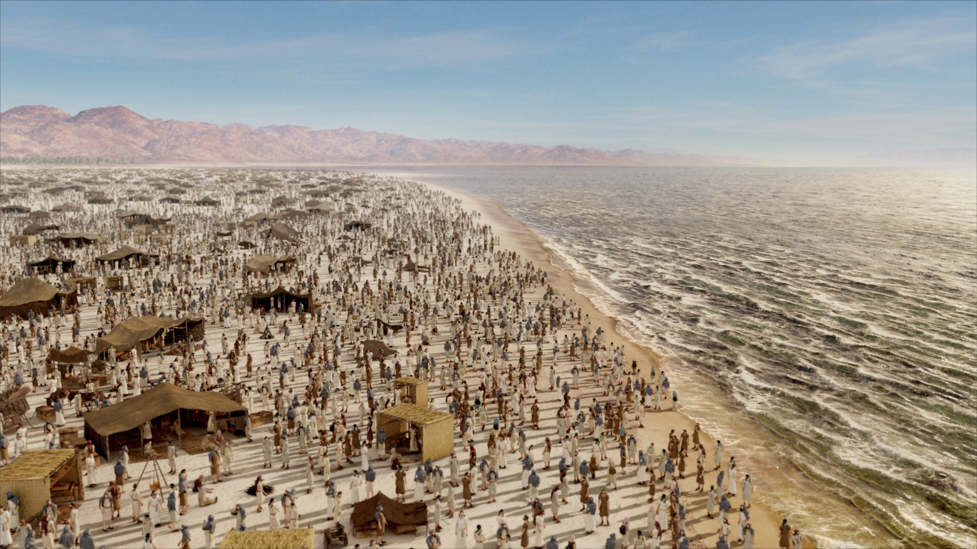"""Patterns of Evidence: The Moses Controversy"" depicts the Hebrew people trapped at the Red Sea after their Exodus from Egypt."