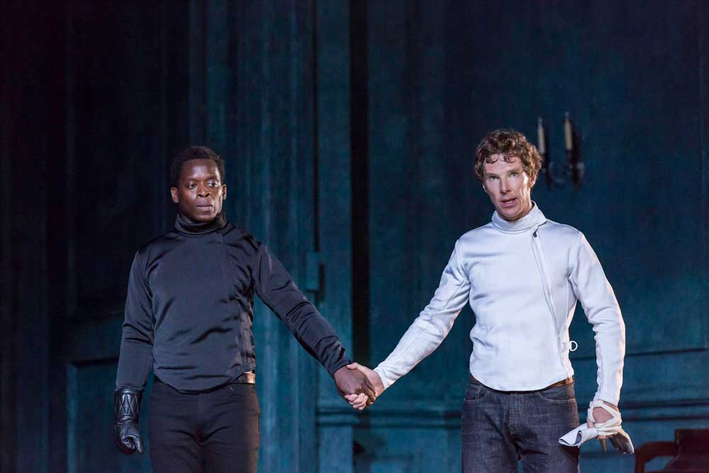 Kobna Holdbrook Smith (Laertes) and Benedict Cumberbatch (Hamlet) in Hamlet at the Barbican Theatre