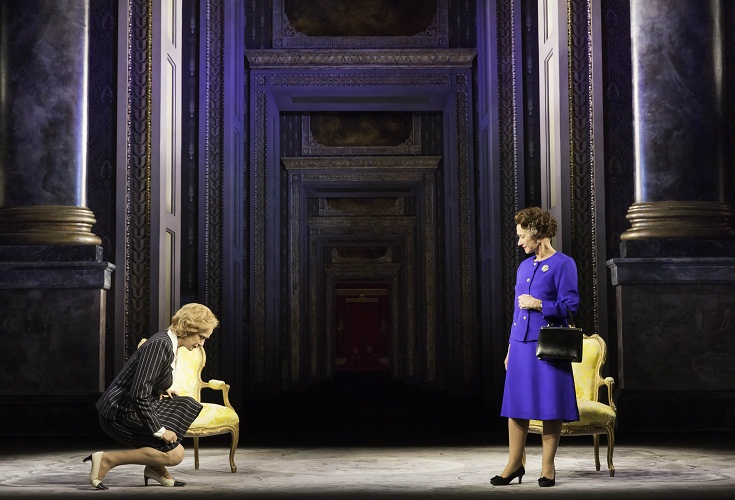 Margaret Thatcher (Haydn Gwynne) and Queen Elizabeth II (Helen Mirren). Photo by Johan Persson.